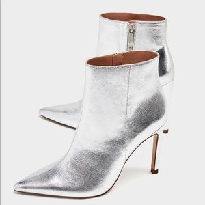 ZARA Silver Stiletto Ankle High Heel Boots